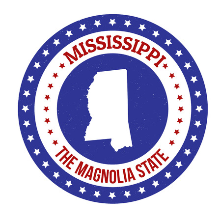 Vintage stamp with text The Magnolia State written inside and map of Mississippi