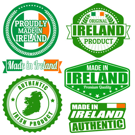 Set of stamps and labels with the text made in Ireland written inside on white background Vector