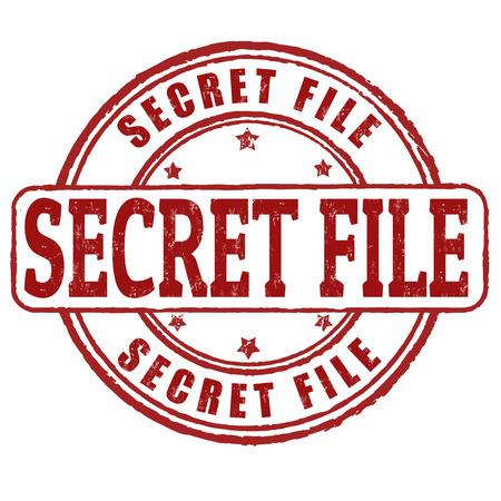 Secret file grunge rubber stamp on white