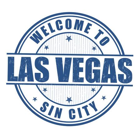 las vegas city: Welcome to Las Vegas, Sin City grunge rubber stamp on white Illustration