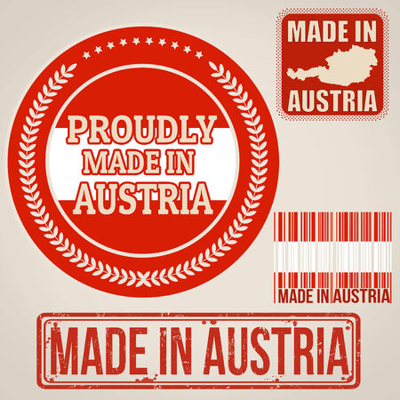 Set of stamps and labels with the text made in Austria written inside on retro background