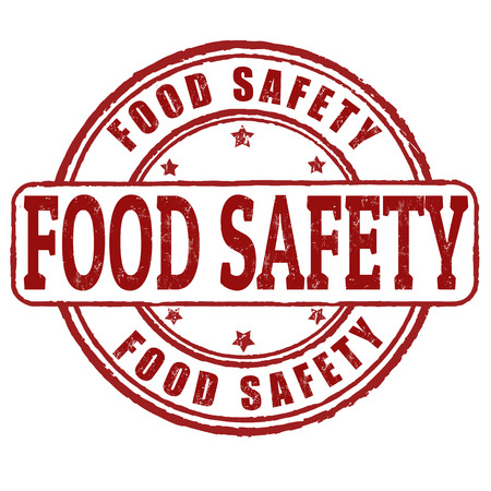 Food safety grunge rubber stamp on white Illustration