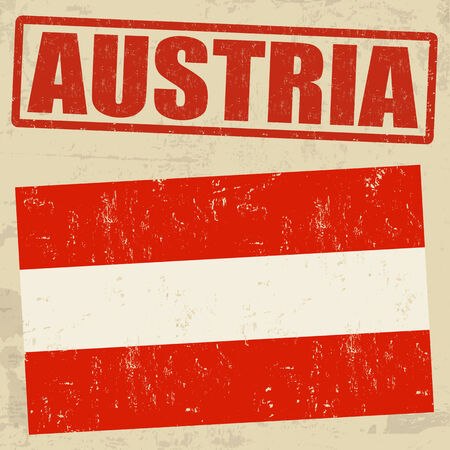 Austria grunge flag on vintage background and Austria rubber stamp Vector