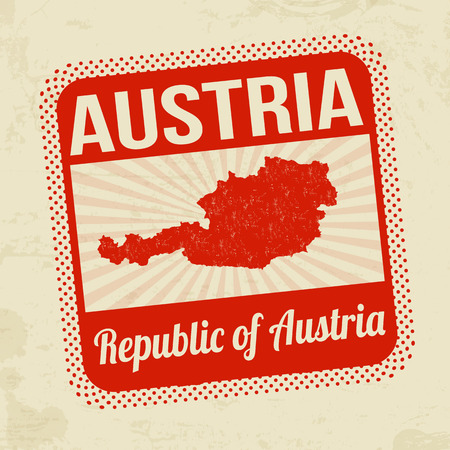 imprinted: Grunge rubber stamp with the name and map of Austria on vintage background Illustration