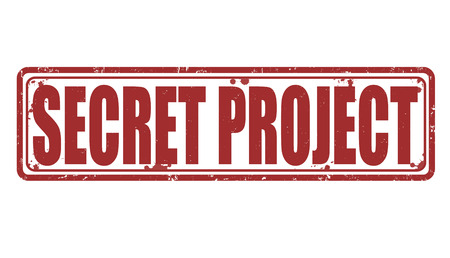 secret agent: Secret project grunge rubber stamp on white