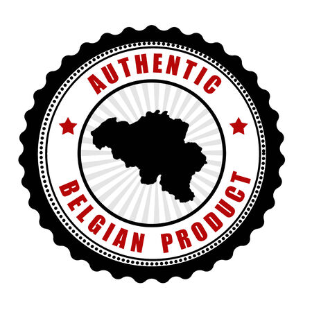 Authentic belgian product stamp or label with map of Belgium inside , vector illustration