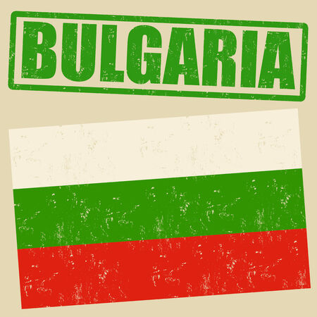 bulgaria: Bulgaria grunge flag on vintage background and Bulgaria rubber stamp, vector illustration