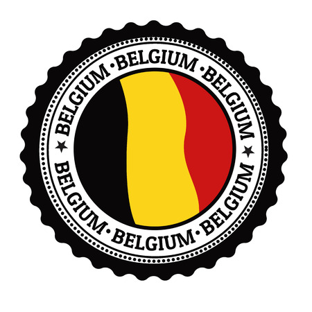 Stamp or label with Belgium Flag and the word Belgium written inside, vector illustration