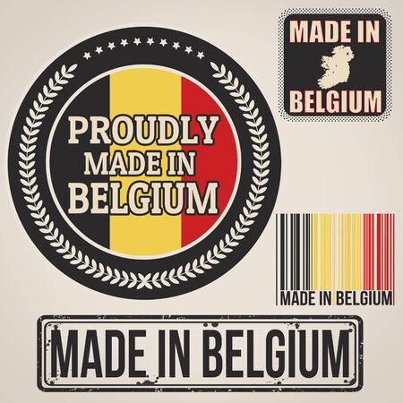 Set of stamps and labels with the text made in Belgium written inside on retro background, vector illustration Vector