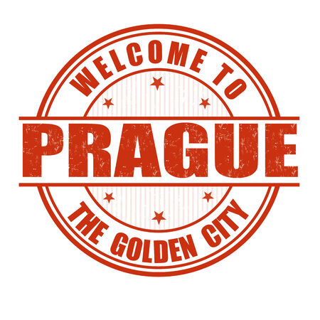 Welcome to Prague, The Golden City grunge rubber stamp on white, vector illustration Vector