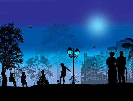 lovers park: Vector design background with beautiful landscape and people silhouette on blue sunset
