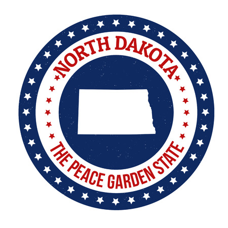 peace stamp: Vintage stamp with text The Peace Garden State written inside and map of North Dakota, vector illustration