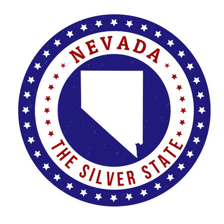silver state: Vintage stamp with text The Silver State written inside and map of Nevada, vector illustration