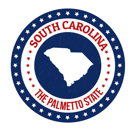 palmetto: Vintage stamp with text The Palmetto State written inside and map of South Carolina, vector illustration