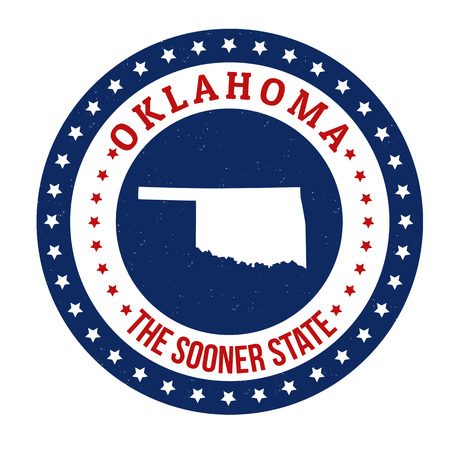 oklahoma: Vintage stamp with text The Sooner State written inside and map of Oklahoma, vector illustration Illustration