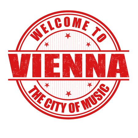 Welcome to Vienna, The City of Music grunge rubber stamp on white, vector illustration Vector