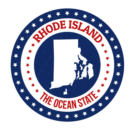 Vintage stamp with text The Ocean State written inside and map of Rhode Islanda, vector illustration Vector