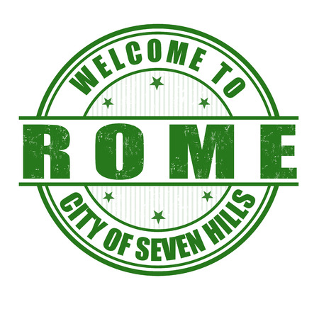 Welcome to Rome, City of Seven Hills grunge rubber stamp on white, vector illustration Vector