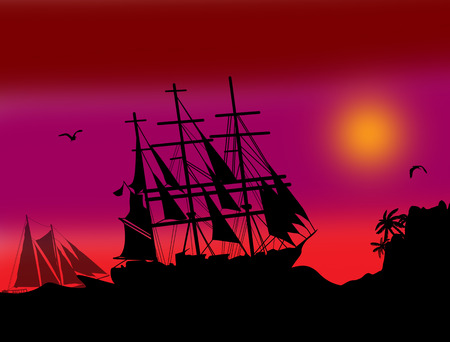 privateer: Boats floating on the ocean in front of a very nice colored sky at sunset
