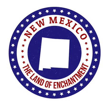 enchantment: Vintage stamp with text The Land of Enchantment written inside and map of New Mexico, vector illustration Illustration