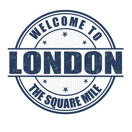 mile: Welcome to London, The Square Mile grunge rubber stamp on white, vector illustration