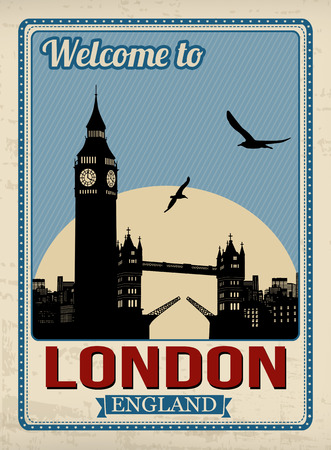 europe cities: Big ben tower from London in vitage style poster, vector illustration Illustration