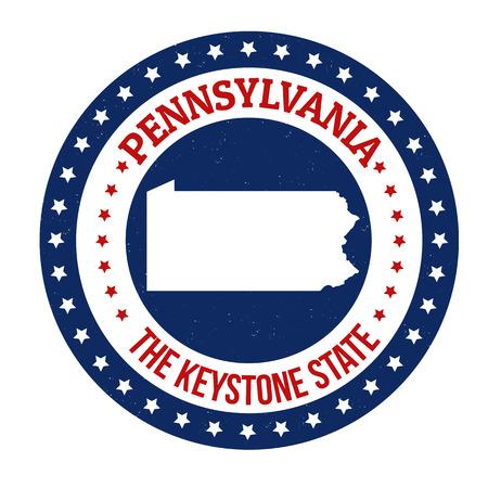 スタンプ テキスト キーストーン国内外ペンシルベニア州、ベクトル イラスト マップを書かれて