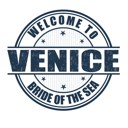 Welcome to Venice, Bride of the Sea grunge rubber stamp on white, vector illustration Vector