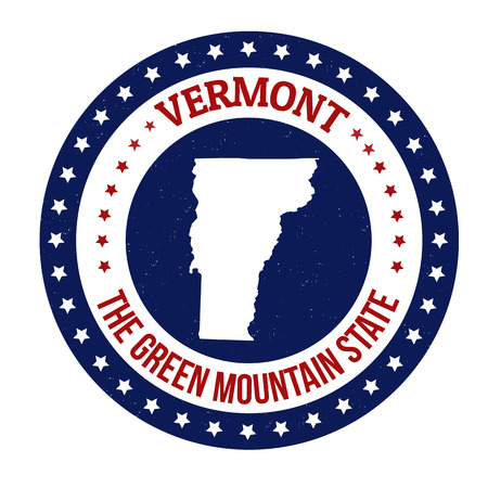Vintage stamp with text The Green Mountain State written inside and map of Vermont, vector illustration Vector