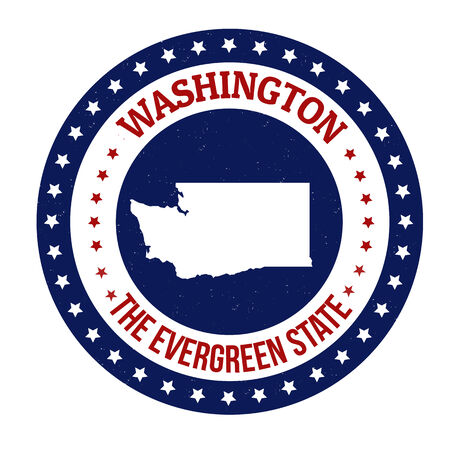 Vintage stamp with text The Evergreen State written inside and map of Washington, vector illustration Illustration