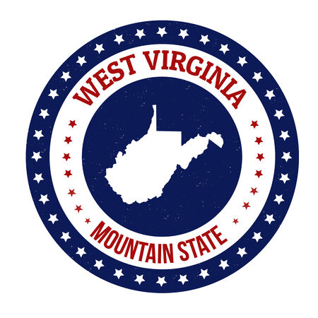 west virginia: Vintage stamp with text Mountain State written inside and map of West Virginia, vector illustration