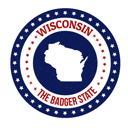 badger: Vintage stamp with text The Badger State written inside and map of Wisconsin, vector illustration Illustration
