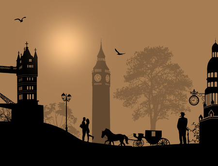 london night: Carriage and lovers at night in London, romantic background, vector illustration