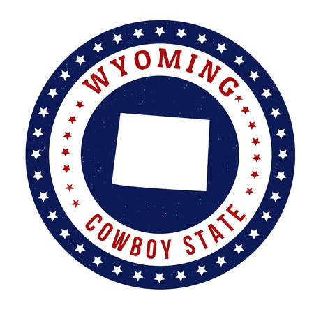 Vintage stamp with text Cowboy State written inside and map of Wyoming, vector illustration Vector