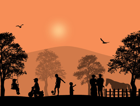 modern garden: Children playing in a park on beautiful place, vector illustration