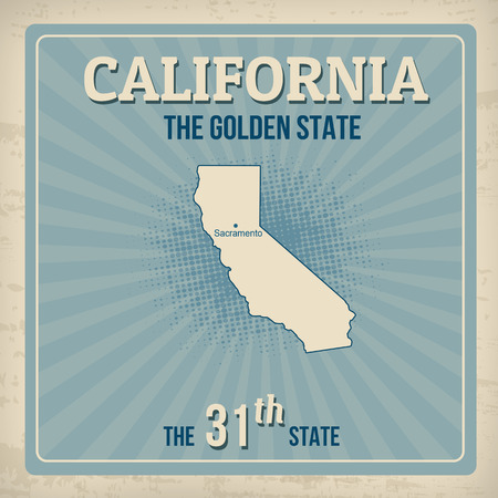 ecard: California travel vintage grunge poster, vector illustration
