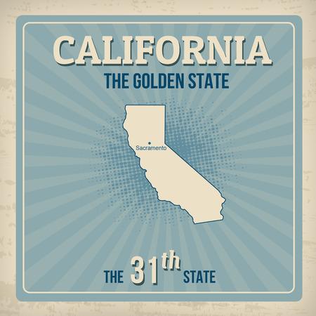 31th: California travel vintage grunge poster, vector illustration