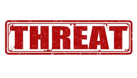 threat: Threat grunge rubber stamp on white, vector illustration