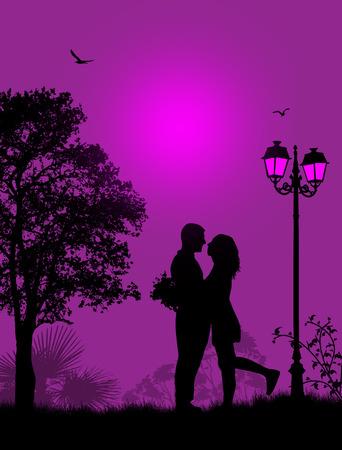 Omarmd liefhebbers in een park op een prachtige zonsondergang, vector illustratie