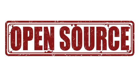 copyrights: Open Source grunge rubber stamp on white, vector illustration Illustration