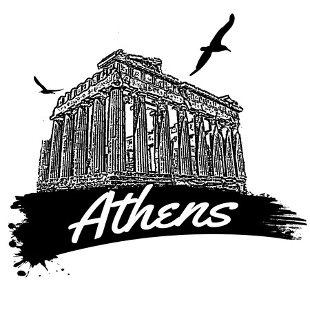 Athens in vitage style poster, vector illustration Vector