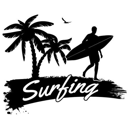 tabla de surf: El practicar surf en estilo vitage cartel, ilustración vectorial