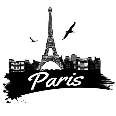 paris skyline: Paris in vitage style poster, vector illustration