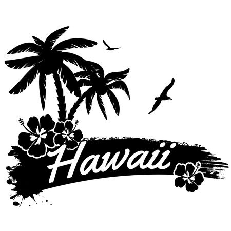 Hawaii in vitage style poster, vector illustration Illustration