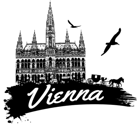 great hall: Vienna  in vitage style poster, vector illustration