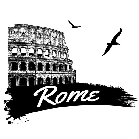 Rome in vitage style poster, vector illustration Vector