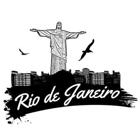 redeemer: Rio de Janeiro in vitage style poster, vector illustration