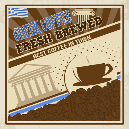parthenon: Poster in vintage style with a coffee cup, beans and Parthenon and text Greek Coffee, vector illustration