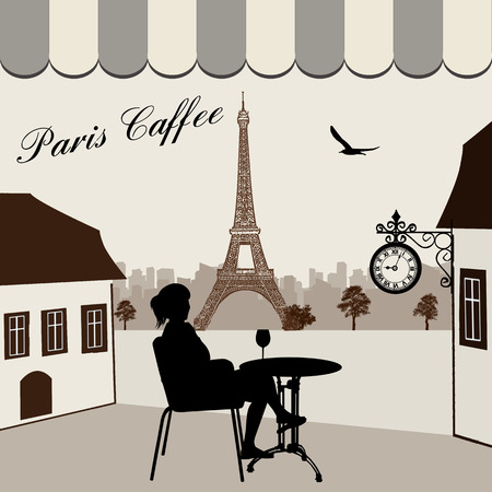 bilding: Parisian street restaurant with views of the Eiffel Tower, vector illustration Illustration