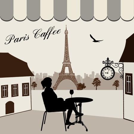 caf�: Ristorante di strada parigino con vista sulla Torre Eiffel, illustrazione vettoriale Vettoriali